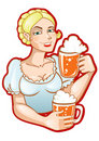 Free Girl With Two Mugs Of Beer Stock Image - 20247961