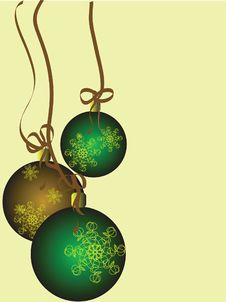 Free Gold And Green Holiday Balls Royalty Free Stock Images - 20240349