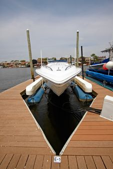 Motor Boat Docked In The Marina. Stock Photography