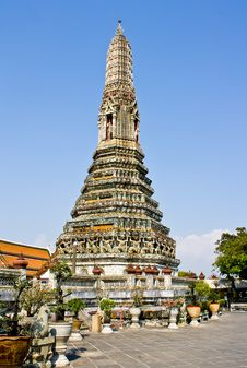 The Ancient Temple At Wat Arun, Bangkok Royalty Free Stock Photo