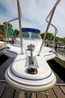 Motor Boat Docked In The Marina. Stock Photo