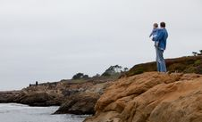 Free Father And Son Looking At The Ocean Stock Photo - 20241500