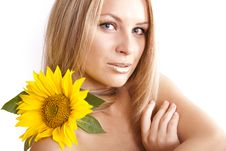 Free Young Blonde   Girl  And Sunflower Stock Photo - 20241990