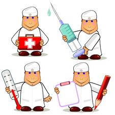 Four Cartoon Doctors Royalty Free Stock Image