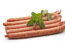 Free Mead Sausage With Mint Royalty Free Stock Photography - 20242537