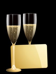 Champagne And Gold Message Tag Royalty Free Stock Images