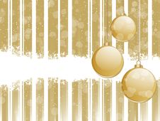 Free Glossy Gold Baubles On A Strped Background Stock Photos - 20242923