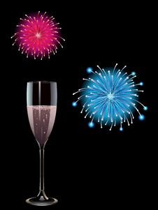 Pink Champagne And Fireworks Stock Images