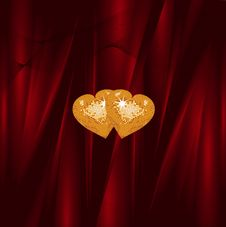 Free Gold Valentine Hearts Stock Photography - 20243032