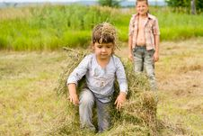 Free Girl And Hay Stock Photography - 20243292