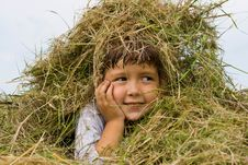 Free Girl And Hay Royalty Free Stock Photos - 20243568