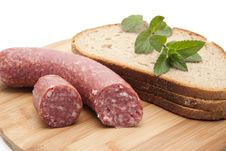 Free Garlic Salami With Bread Royalty Free Stock Photography - 20243607