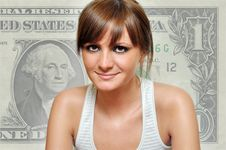 Free Girl With A Dollar In Background Stock Image - 20244641