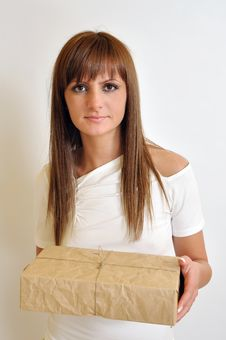 Free Girl With A Package Box Stock Images - 20244674