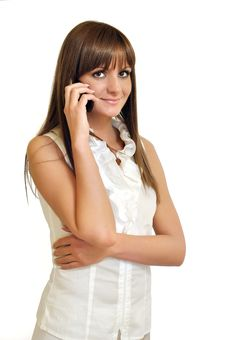 Free Pretty Young Woman With Mobile Phone In Hand Royalty Free Stock Image - 20244846