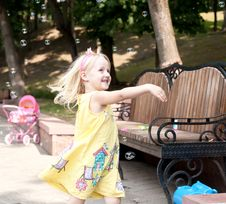 Free Running Open Arms Little Happy Girl Stock Photo - 20245520