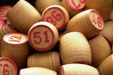 Free Wooden Barrels With Lotto Games In Red Digits Royalty Free Stock Photos - 20246308