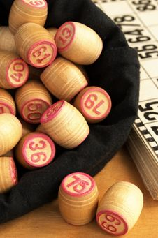 Free Wooden Barrels With Lotto Games In Red Digits Stock Photo - 20246310