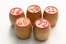 Free Wooden Barrels With Lotto Games In Red Digits Stock Photography - 20246312