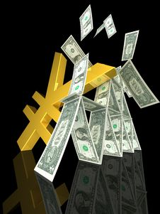Free Golden Yen Strikes Dollar Tower Stock Photo - 20247720
