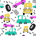 Free Seamless Pattern With Cars And Tools Royalty Free Stock Image - 20250776
