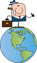 Free Businessman On A World Globe Royalty Free Stock Images - 20251799