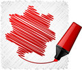 Free Drawing Red Seven-star. Royalty Free Stock Photo - 20252075