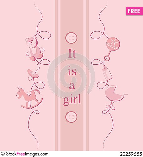Free Baby  Girl Arrival Announcement Card. Royalty Free Stock Photo - 20259655