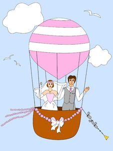 Free Just Married Couple Ballooning Royalty Free Stock Images - 20250899