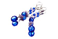 Free Handmade Silver Earrings With Gemstones, Isolated Stock Photos - 20251173