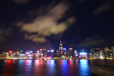 Hong Kong Skyline At Night Royalty Free Stock Images
