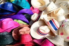 Colorful Straw Hats Royalty Free Stock Photography