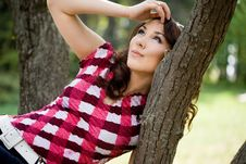 Free Girl In A Forest Barrel Royalty Free Stock Photos - 20252318