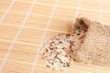 Free Raw Rice Pouring Frim Woven Bag Royalty Free Stock Photo - 20252555
