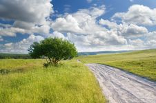 Road On Green Meadow Royalty Free Stock Photography