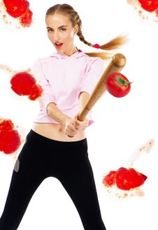 Free Lady Beating Off Tomatoes With A Baseball Bat Stock Photography - 20252882