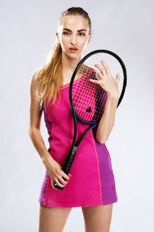 Free Beautiful Model With Tennis Racket Stock Photos - 20253133