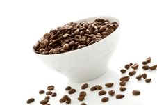 Free Coffee Beans Inside A White Bowl Royalty Free Stock Images - 20253669