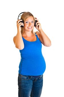 Free Pregnant Woman With Headphones Royalty Free Stock Photo - 20254025