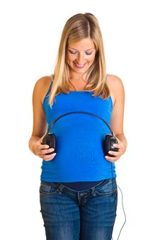 Free Pregnant Woman With Headphones Royalty Free Stock Photos - 20254108