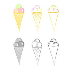Ice-cream. Set Of Illustrations. Royalty Free Stock Image