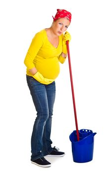 Free Tired Pregnant Woman Cleaning Stock Photos - 20254533