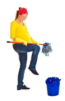 Free Tired Pregnant Woman Cleaning Stock Photos - 20254653