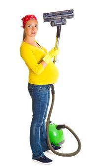 Free Pregnant Woman Clean With Vacuum Stock Photo - 20254720