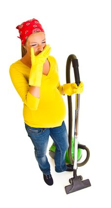 Free Pregnant Woman Clean With Vacuum Royalty Free Stock Photo - 20254755