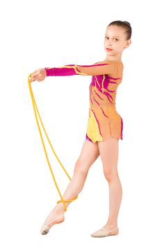 Free The Young Gymnast Stands With A Rope Stock Photo - 20255010
