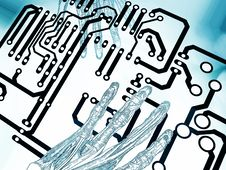 Abstract Hands On Circuit Royalty Free Stock Photo