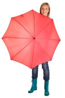 Pregnant Woman With Umbrella Stock Photo
