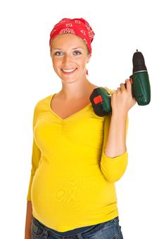 Pregnant Woman With Powertools Stock Image