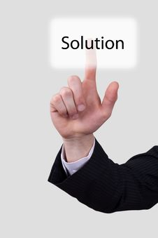 Free Hand Push On Solution Button Stock Images - 20255284